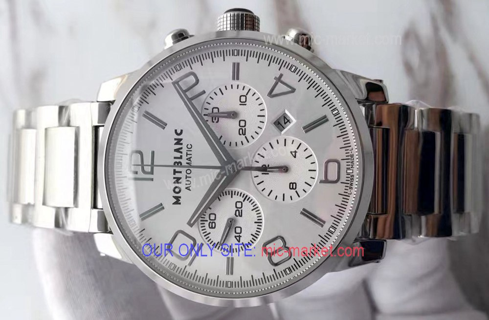 Fake Mont blanc Timewalker 43 Watch Stainless Steel Silver Face